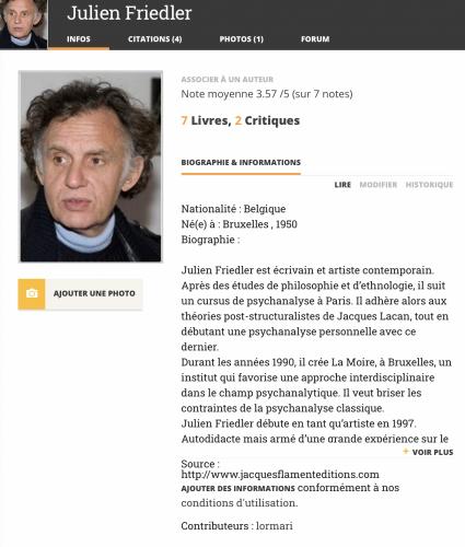 Julien Friedler, Babelio, livre,